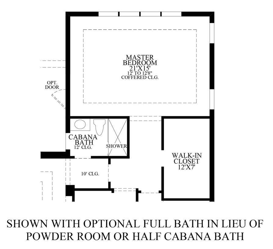Floorplan Image: Optional Full Bath ILO Powder Room or Half Cabana Bath