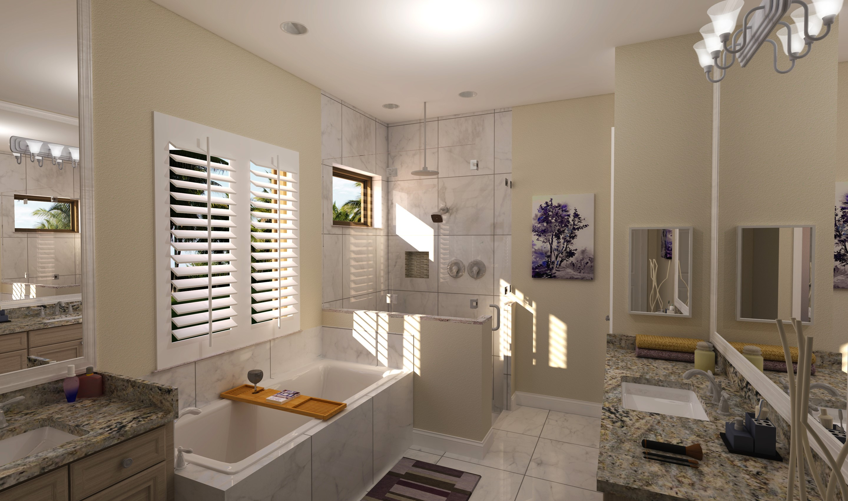 Owner's bath with tub and shower