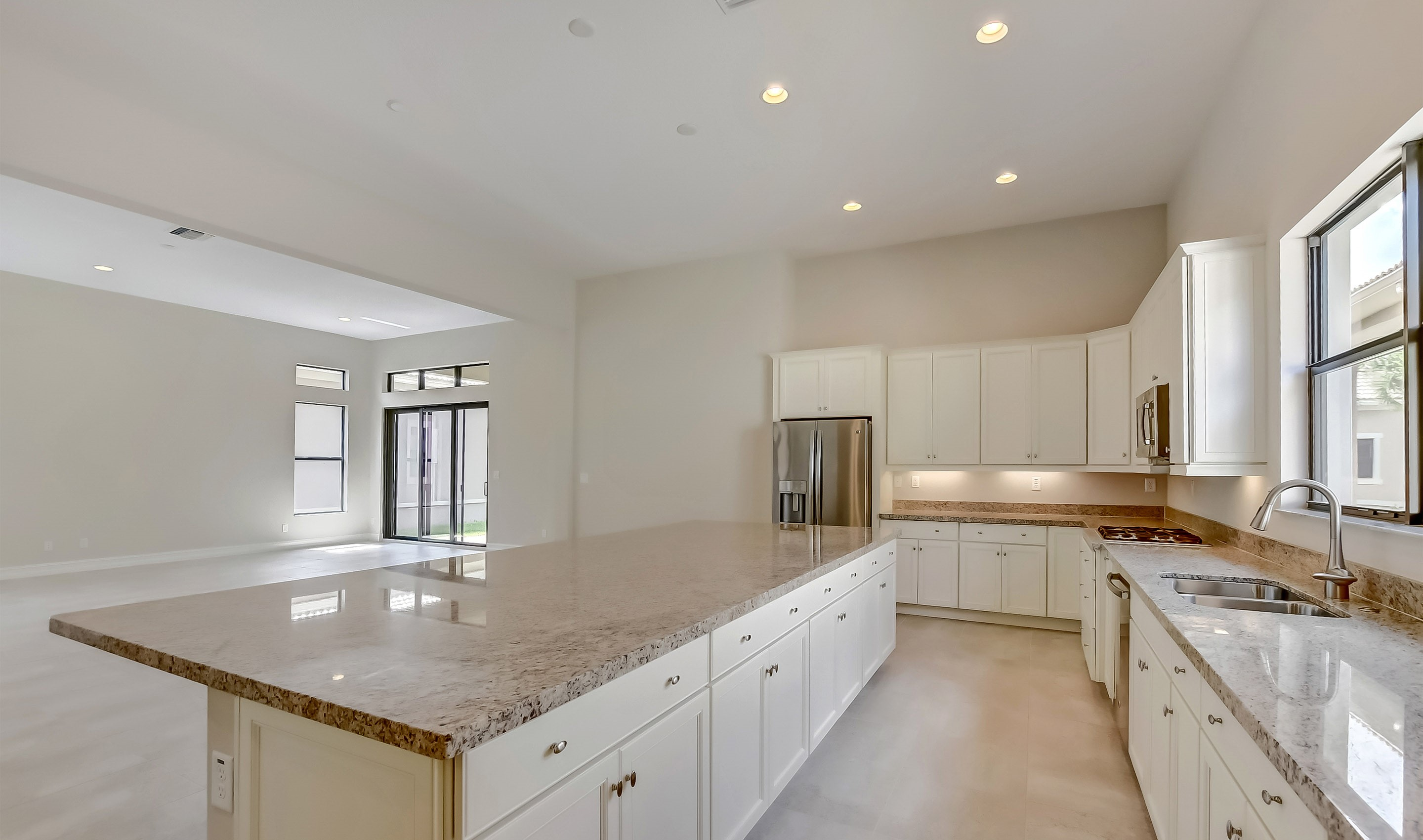 Open-concept kitchen with island