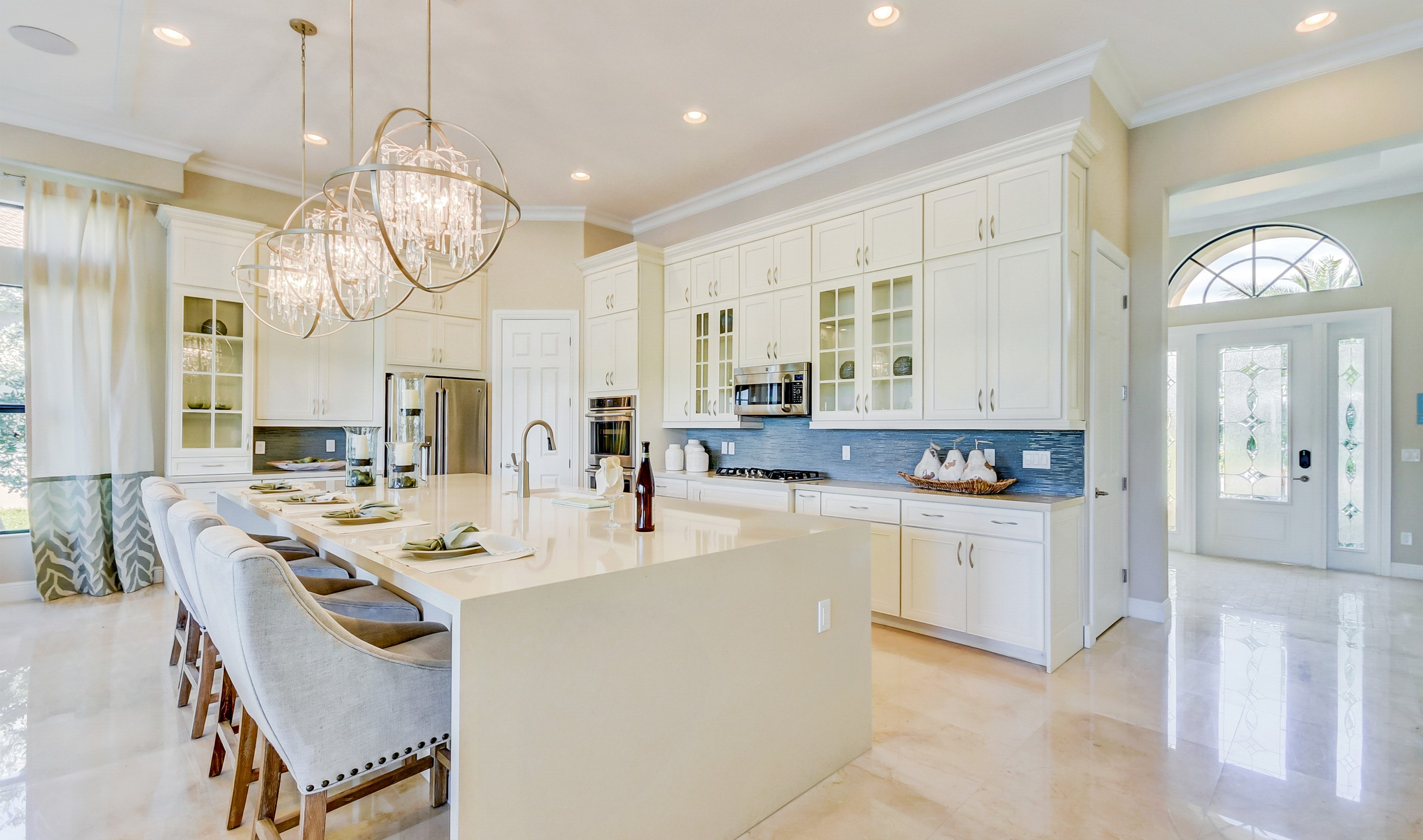 Striking kitchen with large island