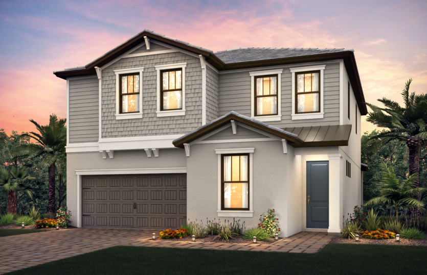 Riverwalk: The Riverwalk, a two-story family home with a 2 car garage, shown with Home Exterior C2A