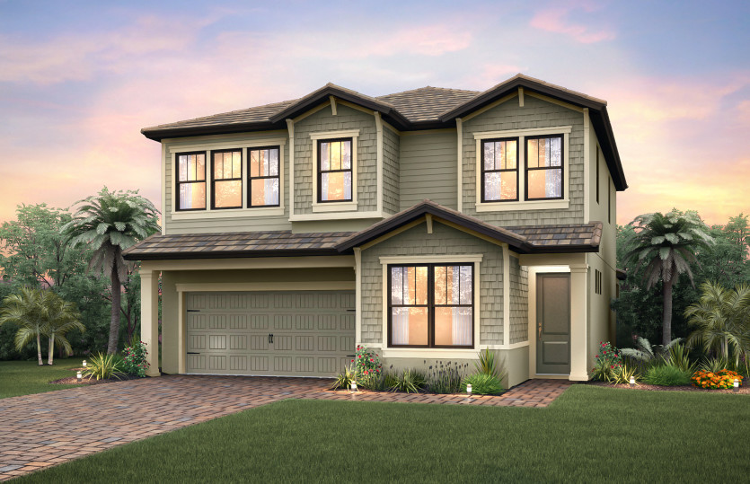 Riverwalk: The Riverwalk, a two-story family home with a 2 car garage, shown with Home Exterior C2C
