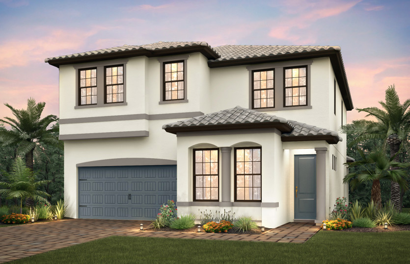 Riverwalk: The Riverwalk, a two-story family home with a 2 car garage, shown with Home Exterior FM1C