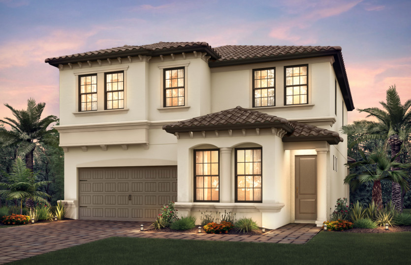 Riverwalk: The Riverwalk, a two-story family home with a 2 car garage, shown with Home Exterior FM2A