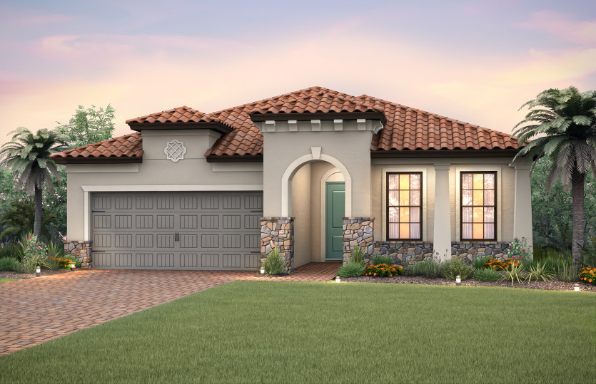 Summerwood: The Summerwood, a single-story family home with a 2 car garage, shown with Home Exterior FM3A