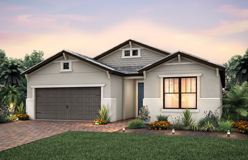 Summerwood: The Summerwood, a single-story family home with a 2 car garage, shown with Home Exterior C2A