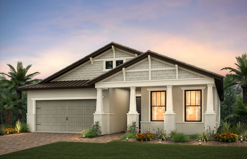 Summerwood: The Summerwood, a single-story family home with a 2 car garage, shown with Home Exterior C2E