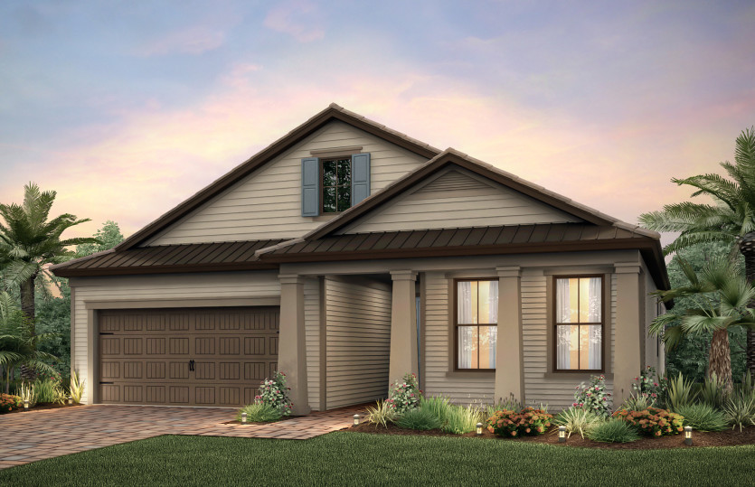 Summerwood: The Summerwood, a single-story family home with a 2 car garage, shown with Home Exterior LC3C