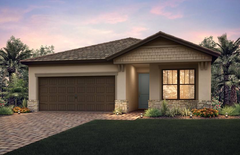 Orleans: The Orleans, a single-story family home with a 2 car garage, shown with Home Exterior C2B