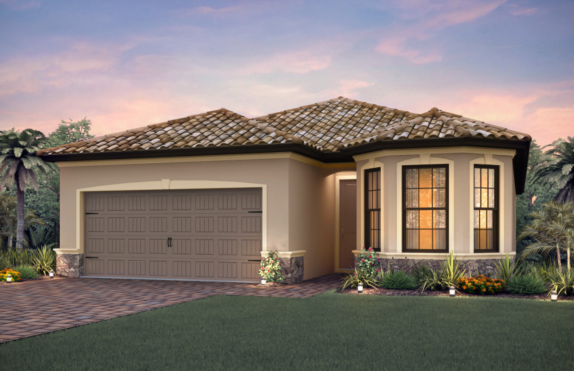 Orleans: The Orleans, a single-story family home with a 2 car garage, shown with Home Exterior FM2B