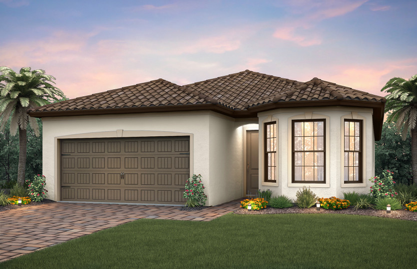 Orleans: The Orleans, a single-story family home with a 2 car garage, shown with Home Exterior FM1C