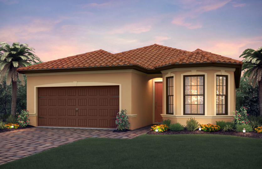 Orleans: The Orleans, a single-story family home with a 2 car garage, shown with Home Exterior FM2A