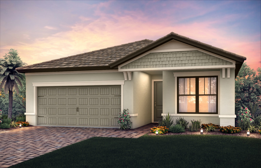 Orleans: The Orleans, a single-story family home with a 2 car garage, shown with Home Exterior C2A
