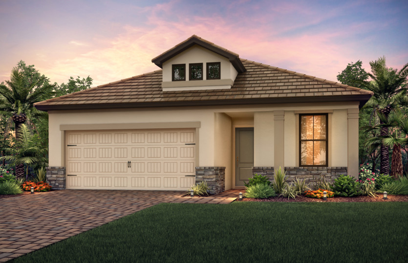 Orleans: The Orleans, a single-story family home with a 2 car garage, shown with Home Exterior LC2B