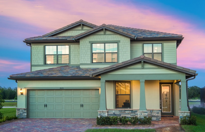 Park Place: The Park Place, a two-story family home with a 2 car garage, shown as The Fields model Home Exterior