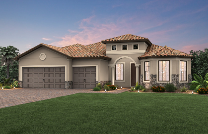 Pinnacle: The Pinnacle, a single-story family home with a 3 car garage, shown with Home Exterior FM3A