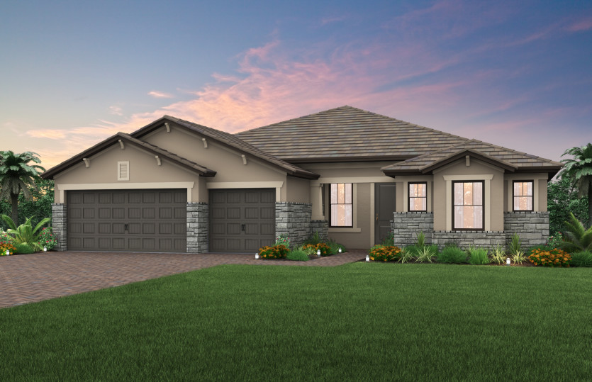 Pinnacle: The Pinnacle, a single-story family home with a 3 car garage, shown with Home Exterior C2B