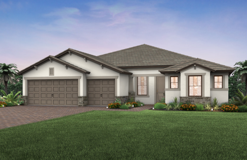 Pinnacle: The Pinnacle, a single-story family home with a 3 car garage, shown with Home Exterior C2A