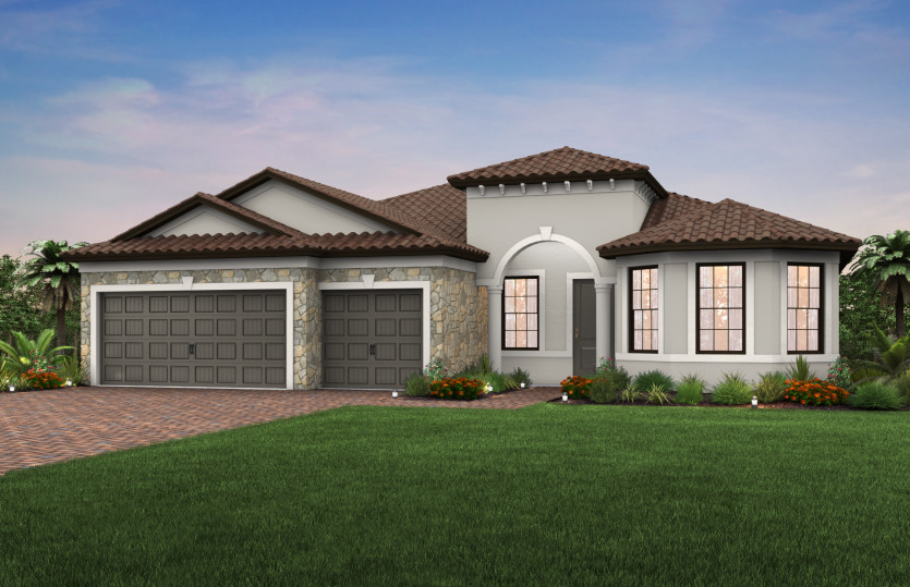 Pinnacle: The Pinnacle, a single-story family home with a 3 car garage, shown with Home Exterior FM2B