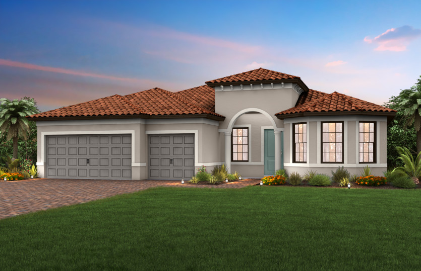 Pinnacle: The Pinnacle, a single-story family home with a 3 car garage, shown with Home Exterior FM2A