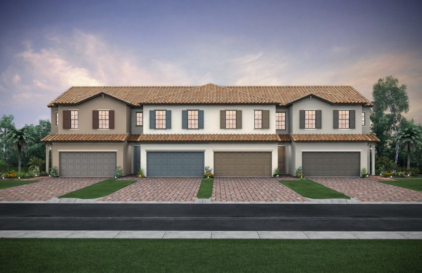 Leland: The Leland, a two-story town home with a 2 car garage, shown with Home Exterior FM2A-B 4-unit