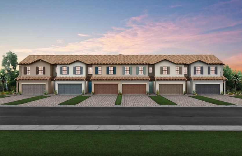 Leland: The Adirondack, a two-story town home with a 2 car garage, shown with Home Exterior C2A-B 6-unit VE