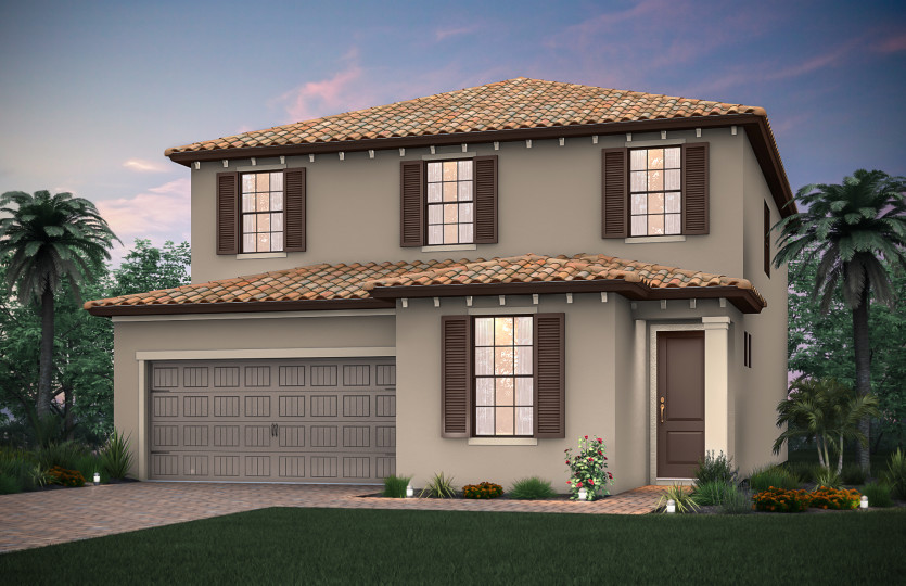 Park Place: The Park Place, a two-story family home with a 2 car garage, shown with Home Exterior FM2C